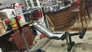 Olympic Bench fully adjustable +weights +bars Windsor Region Ontario image 2