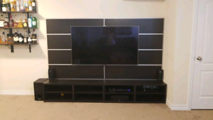 Entertainment unit wirh bavk oanelling and TV mount