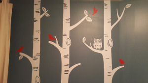 Birch tree wall decals with Owls and birds ( Price Dropped )