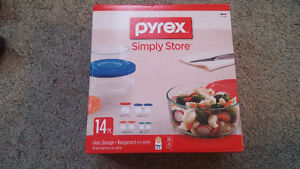 14 piece Pyrex glass containers.  Brand new!