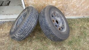 2 PUMP UP HANKOOK TIRES WITH RIMS
