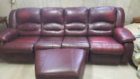 4 piece red leather couch.