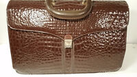 Grand Sac Cartable Vintage Cuir Crocodile -