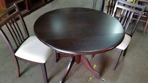 "Drop leaf solid hardwood table, 40"" round, chairs available, NEW"