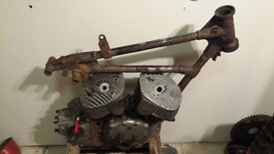 1938 Indian scout motorcycle race bike frame engine and parts