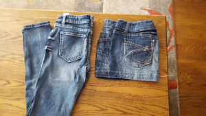Jeans and jean skirt