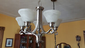 Chrome hanging Chandelier w/alibaster shades