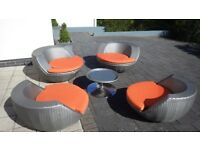 Contemporary garden seating set that stacks in to a ball!
