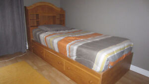 2 Captain's Bed, Headboard & Frame - Twin Size