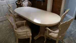 dining set, table, 6 chairs, showcase