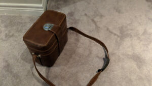 Leather Camera Case With Minolta XG1, Telephoto Lens, Filters