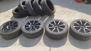 4x100 17Inch wheels w/ 5 extra tires lots of tread Like New