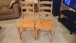 2 Ikea Solid Pine Chairs - for sale
