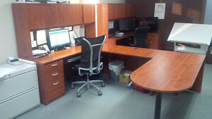 Like New Office U-Shaped Desk c/w Hutch and Filing Drawers