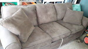 Free sofa bed, oversized chair and leather ottoman