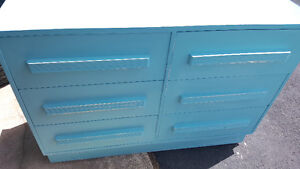 Teal blue dresser and table