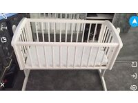 White swing crib Moses basket mothercare