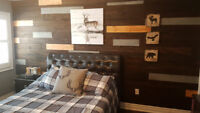 Home renovations,  barn board wall.