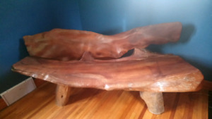 Solid exotic wood bench, custom made