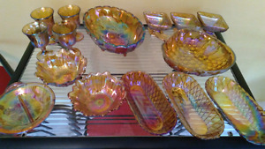 SOLD PPU-Vintage Marigold Carnival Glass Collection