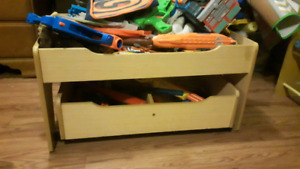 Kids play table with rolling under storage bin