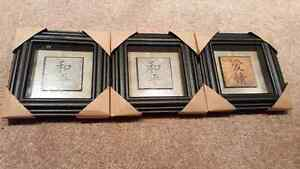 3 small square pictures brand new