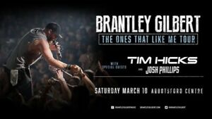 BRANTLEY GILBERT ABBOTSFORD SOLD OUT SECTION!! 3 TIX