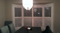 VINYL/WOOD CALIFORNIA SHUTTERS, CANADIAN MADE, 25 YEARS WARRENTY