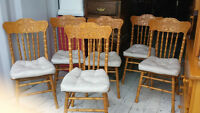 6 Solid Oak Carved Dinning Room Chairs