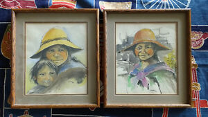 Pair of Signed Original Portraits