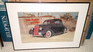 Roger Lusty framed watercolour automotive print, '35 Ford Coupe