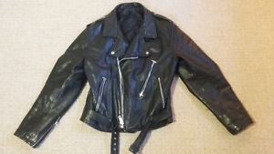leather biker jacket made in Canada Strathcona County Edmonton Area image 2