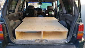 Custom camping mattress box with storage space - built for jeep!