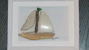 """Sailboat"" beach art by Deb Humen"