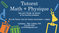 Tutorat Math + Physique (secondaire + cégep)