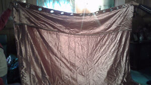 Two 96x96 panels custom made satin drapes with bead work