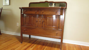 Oak Buffet with beveled glass mirror