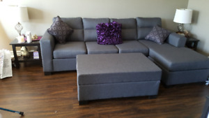 Comfy Sectional with matching Ottoman.