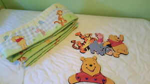 Winnie-the-Pooh bumper pads ,coat hanger and wall decal