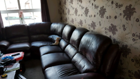 Large leather Curved Sofa