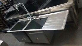 Double commercial sink/ stainless steel sink unit (4f)