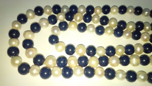 Genuine White Akoya Pearls and Lapis Lazul Necklace 70 Inches!!