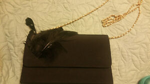 Reduced black feather evening bag purse clutch gold chain new