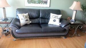 3PC Black & Grey Leather Couch Set