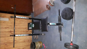 Weight bench, weights, bars
