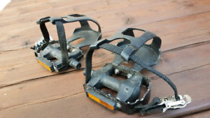 Pedals with toes clip