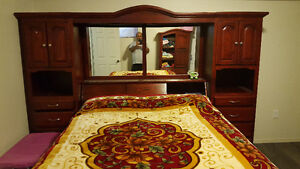 Queen size bed, mattress, head board with light, end tables