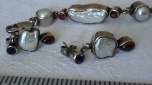 Sterling 925 Earrings & Bracelet Set with Pearls and Garnets