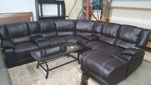 beautiful reclining sectional with chaise (+ 2 consoles)