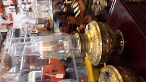 EMBOSSED BRASS BANQUET OIL LAMPS with chimneys  circa 1890 London Ontario image 2